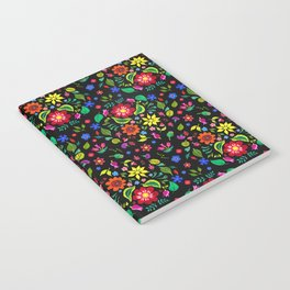 Folk Florals Dark Notebook