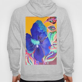 Birthday Acrylic Blue Orange Hibiscus Flower Painting with Red and Green Leaves Hoody