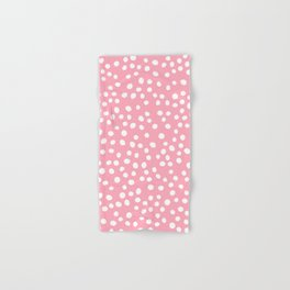 Bright pink and white doodle dots Hand & Bath Towel