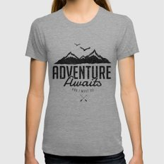 ADVENTURE AWAITS Tri-Grey LARGE Womens Fitted Tee
