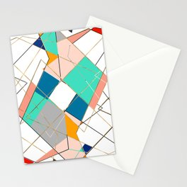 Modern Colorful Abstract Gold Geometric Strokes Stationery Cards