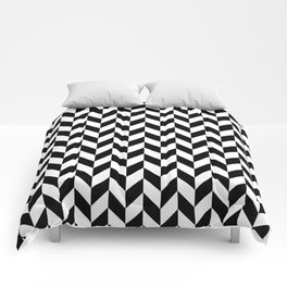 Black and White Herringbone Pattern Comforters