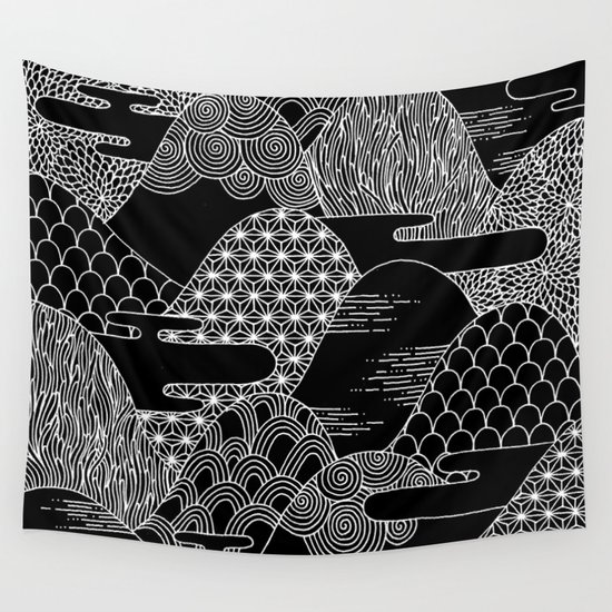Cosmic Mountains Wall Tapestry