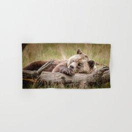 Big Beautiful Grizzly Bear Relaxing In Green Meadow Close Up Ultra HD Hand & Bath Towel