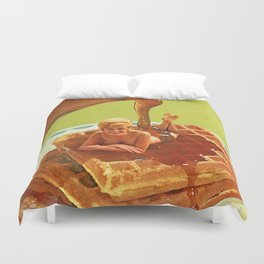 Pour some syrup on me - Breakfast Waffles Duvet Cover