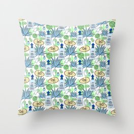 Tequila and Blue Agave Pattern Throw Pillow