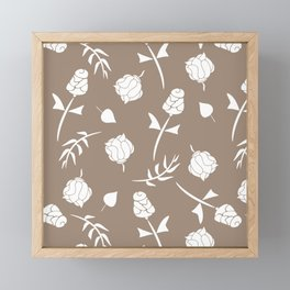 Bright Taupe and White Floral Pattern Framed Mini Art Print