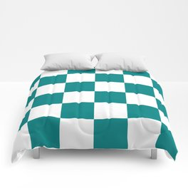 Large Checkered - White and Dark Cyan Comforters
