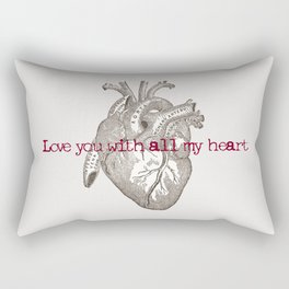 Love you with all my heart vintage illustration Rectangular Pillow