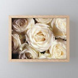 White roses photo. Boho flowers photography. Botanical decor. Floral gift for sister Framed Mini Art Print