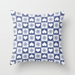 Blue Snowflakes and Hearts Chalet Deco Throw Pillow