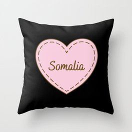 I Love Somalia Simple Heart Design Throw Pillow