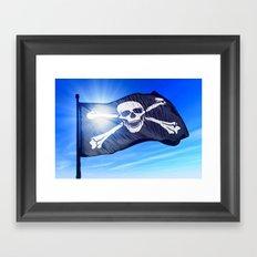 Pirate skull and crossbones flag waving on the wind Framed Art Print