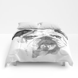 Portrait Of An American Bulldog In Black and White Comforters