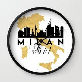 MILAN ITALY SILHOUETTE SKYLINE MAP ART Wall Clock