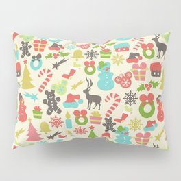 Hidden Mouse Ears Colorful Retro Inspired Christmas Pillow Sham