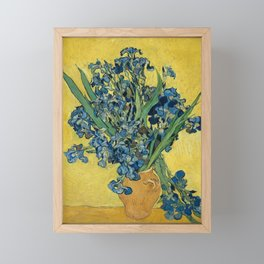 Still Life: Vase with Irises Against a Yellow Background Framed Mini Art Print