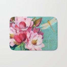 Verdigris Pink Magnolias Bath Mat