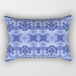Blue and White Classic Psychedelic Subtle Print Rectangular Pillow