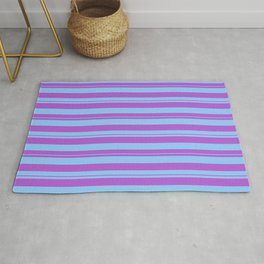 Orchid & Light Sky Blue Colored Stripes/Lines Pattern Rug