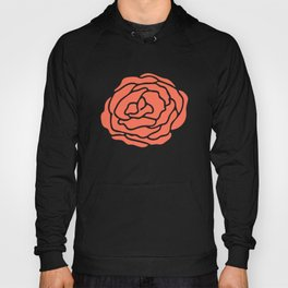 Rose Deep Coral on White Hoody