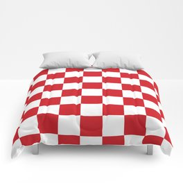Checkered - White and Fire Engine Red Comforters
