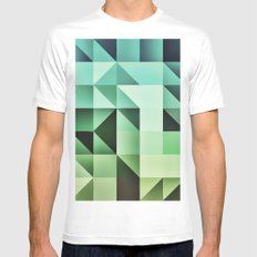 :: geometric maze III :: White MEDIUM Mens Fitted Tee