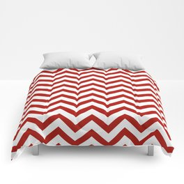 Simple Chevron Pattern - Red & White - Mix & Match with Simplicity of life Comforters