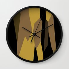 yellow tan olive and black Wall Clock