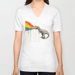 T-Rex Dinosaur Vomits Rainbow Unisex V-Ausschnitt