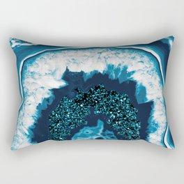 Blue White Agate with Blue Glitter #1 #gem #decor #art #society6 Rectangular Pillow