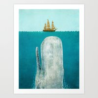 colour Art Prints featuring The Whale  by Terry Fan