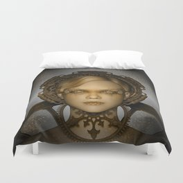 Steampunk female machine Duvet Cover