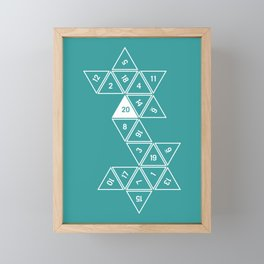 Teal Unrolled D20 Framed Mini Art Print