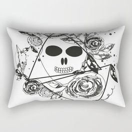 Abstract rose silhouette. Skull. Triangle geometric rose. Summer time abstract black flowers Rectangular Pillow
