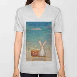 Sad rabbit  with suitcase sitting on the bench on the cloud in sky  Unisex V-Neck