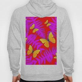 Modern RED Design  Fuchsia Fern Fronds With Yellow Butterflies Hoody