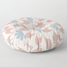 Mid Century Modern Abstract Flower Fan Pattern in Muted Blush Pink Teal Blue Floor Pillow
