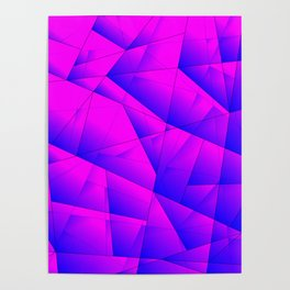 Pattern of purple and lilac triangles and irregularly shaped lines. Poster