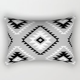 Aztec Style Motif Pattern Monochrome Rectangular Pillow