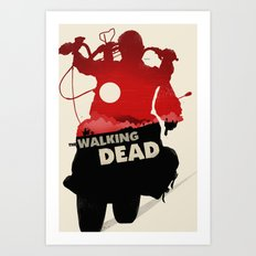Daryl Dixon - Red and Black Art Print