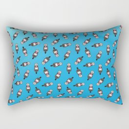 Sea Otter with Donut - Cute Otter Holding Doughnut Rectangular Pillow