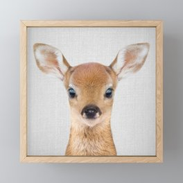 Baby Deer - Colorful Framed Mini Art Print