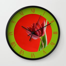 Single red cut tulip with green leaves Wall Clock