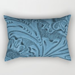 Cornflower Blue Tooled Leather Rectangular Pillow