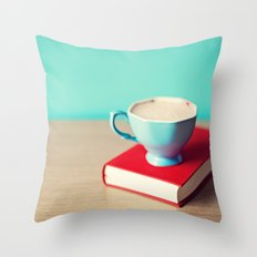Red book and coffee Throw Pillow
