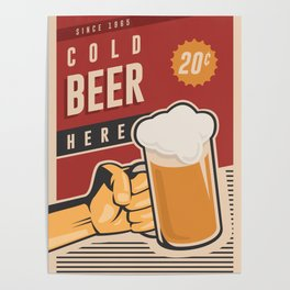 Cold Beer Here Poster