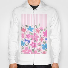 Floral Spring and Stripes Pink Hoody