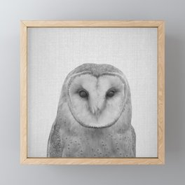Owl - Black & White Framed Mini Art Print