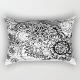 Freeform Black and White Ink Drawing Rectangular Pillow
